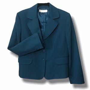 Tahari ASL Teal Blue Green Blazer Jacket 14 Petite
